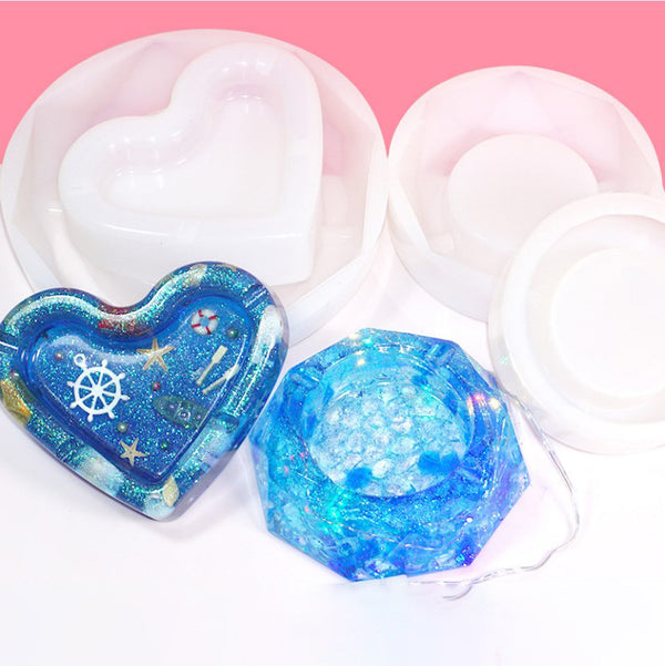 1 PCS Ashtray Silicone Mold DIY Epoxy Resin Mould Heart Diamond Shape Mold For Home Decoration 103294