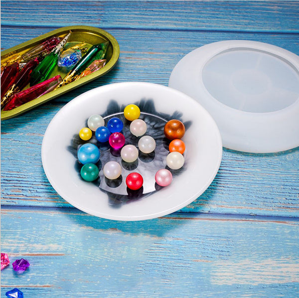 1 pcs DIY Silicone Rolling Tray Mold Crystal Round Flat Plate Mold Dish Mold For Table Decoration 10330051