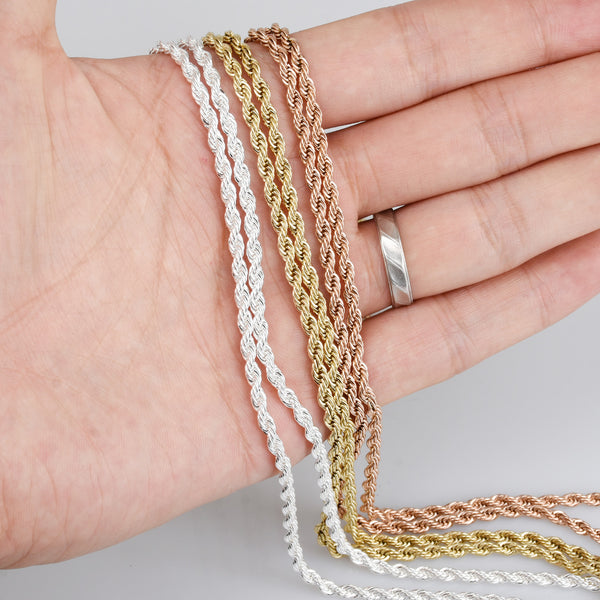 "20""/24""/28"" Stainless Steel Hip Hop Chain Necklace 3mm link width Finished Twist Chain Stainless Chain Real Gold Plated 2pcs 10330"