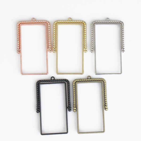 20*40mm Rectangle Open Back Pendant Resin Setting Blanks Open Frame Rotating Pendant Frame Setting 10pcs 103344