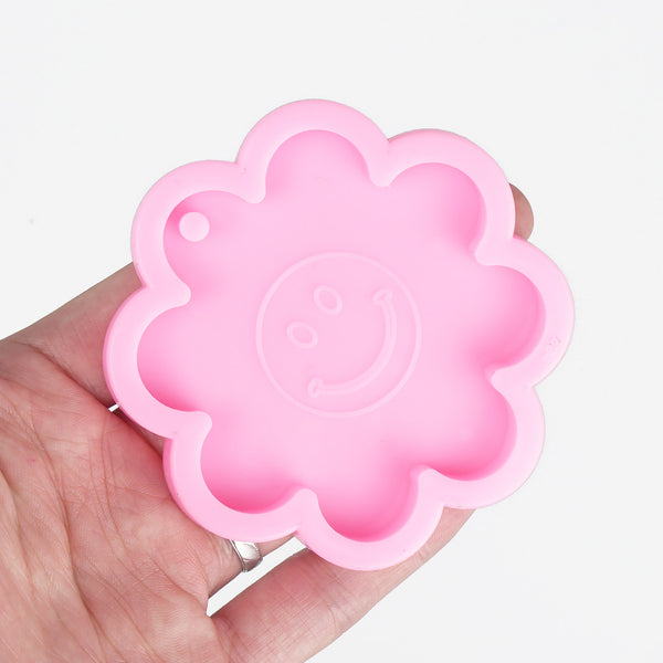 1 piece Shiny Smiling Flower Mold DIY Resin Keychain Mold Jewelry Making Mold 10336650