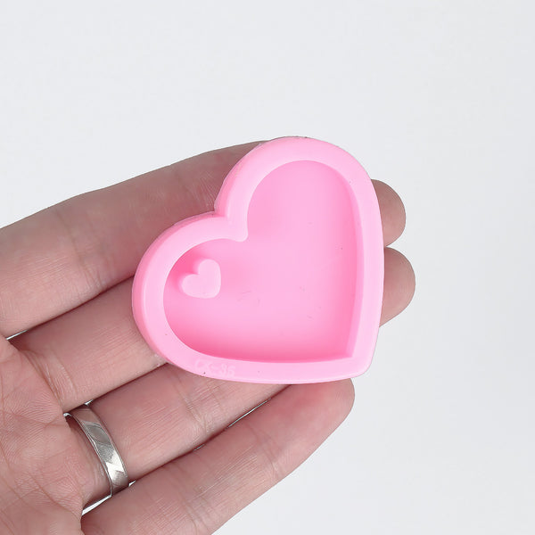 1 piece Shiny Silicone Heart Mold Silicone Keychain Mold Jewelry Craft Accessories 10338450