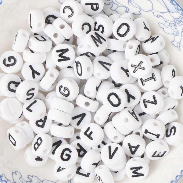 9*4mm White Acrylic Alphabet Beads Round Beads 2mm Hole 100 Pcs/Bag Mixed 10346050