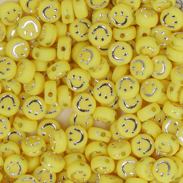 7*3mm Yellow Acrylic Beads Silver Smile Face Flat Round Beads 100 Pcs/Bag 10346253