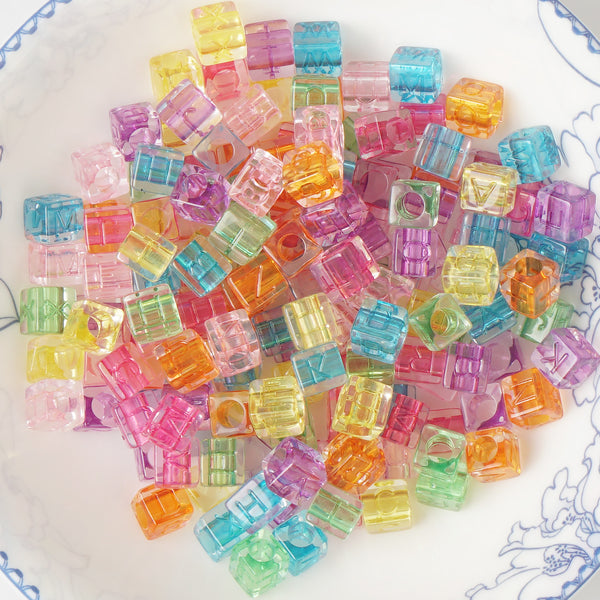 5.5*6mm Colorful Alphabet Beads Cube Acrylic Alphabet Beads 3mm Hole 100 Pcs/Bag Mixed 10346650