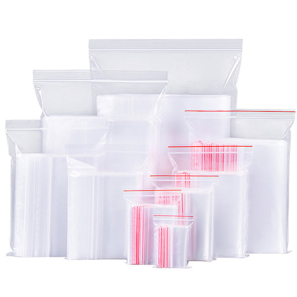 100pcs Reclosable Plastic Bag Clear Zip Lock Bags Storage Packaging Jewelry Wrapping Multiple Sizes 103619