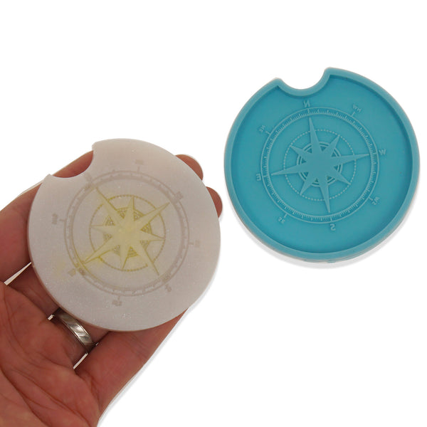 1 piece Blue Silicone Car Cup Coaster Mold Compass Coaster Molds DIY Hand Craft Gift 10364155