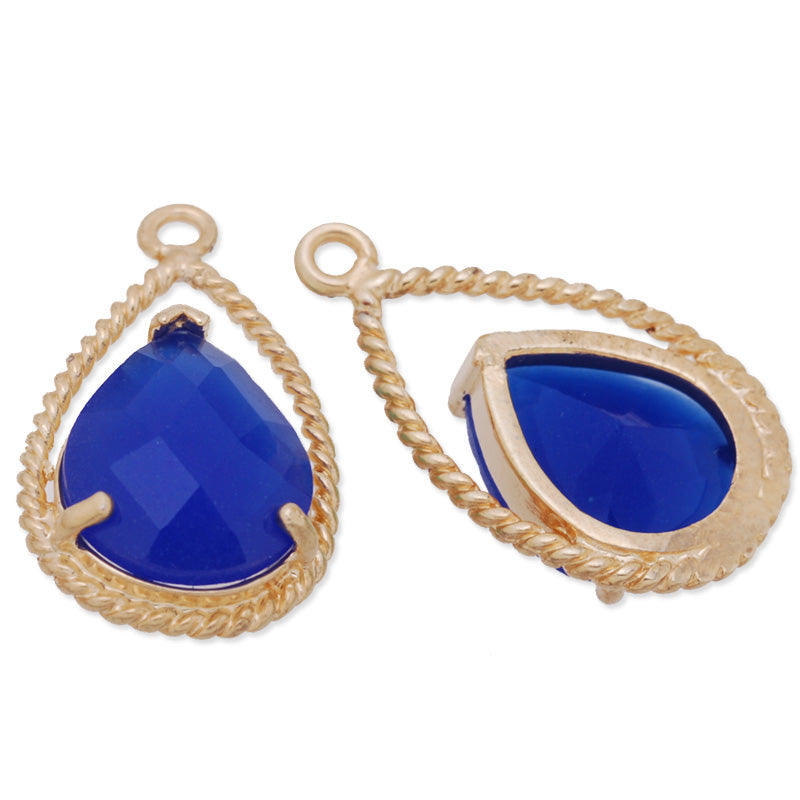 11.5x20mm matt gold plated framed glass,Faceted glass,royal blue,connectors,gemstone bezel,Sold 5pcs/lot