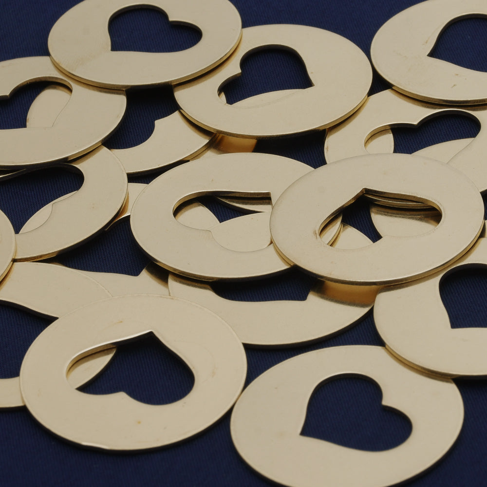 "20pcs about 1 2/8"" tibetara® Brass Heart Stamping Blanks Fantastic Shine 18 Gauges DIY Stamping Blanks Jewelry Tags"