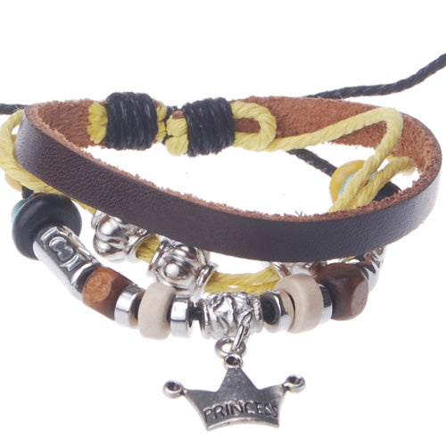 2013-2014 Summer hot sale promotional gifts Imperial crown charm beaded hand-woven  leather bracelet,Deep Coffee,sold 10pcs per pkg