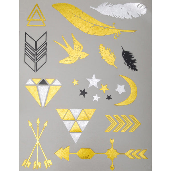 20*15mm Party Favors Metallic Tattoos,Waterproof Metallic Tattoos,Metallic Gold Temporary Tattoos,5pcs/lot