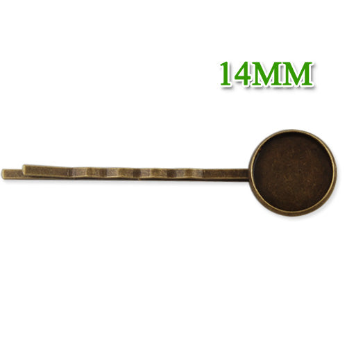 2013-2014 new style 55*14MM Antique Bronze Plated Brass Bobby Pin With bezel,fit 14mm glass cabochon,sold 50pcs per package