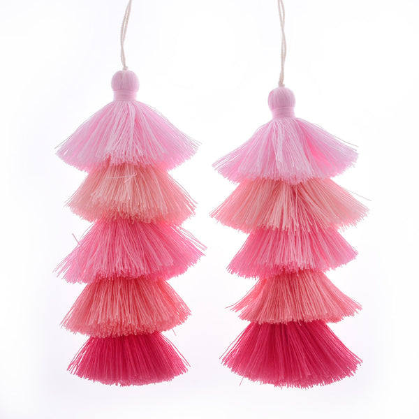 Wholesale Layered Tassel Pendant Five Tier Colorful Cotton Tassel for Earrings pendant handmade 2pcs 10192856
