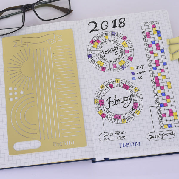 "tibetara Brass Bullet journal stencil Monthy Tracker Stencil Calendar Wheel Stencil fits A5 journal & Midori about 4*7"" 1pcs"