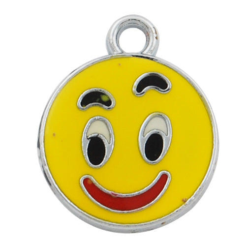 Yahoo's Simle Face Enamel Charms,yellow,long 18mm and thick 2.2mm,Sold 20 PCS Per Package