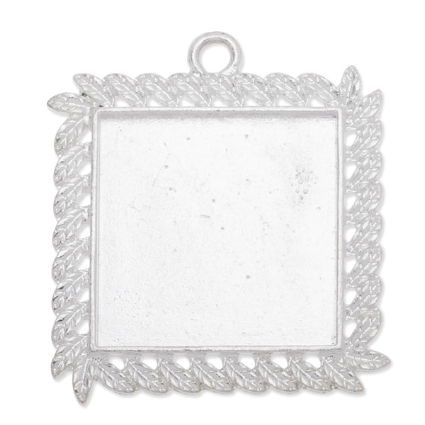 25mm(1 inch)Square Pendant trays,Zinc alloy filled,Silver plated,20pcs/lot