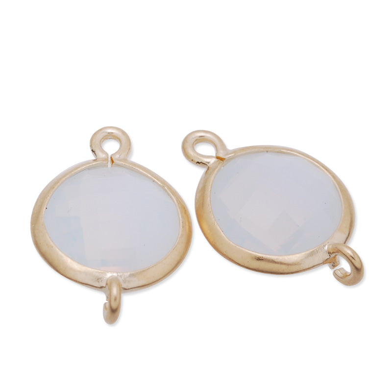 11.5x17mm matt gold plated framed glass,Faceted glass,white opal,connectors,gemstone bezel,Sold 5pcs/lot