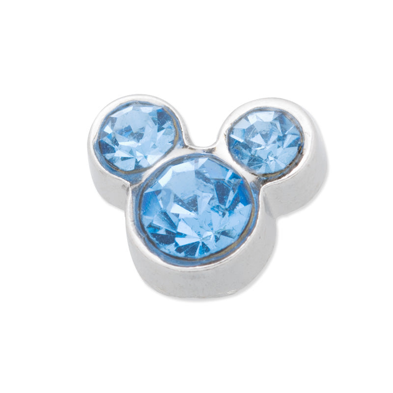 8x6mm Floating charm birthstone - Mickey Mouse ears for memory living locket,light blue 10 PCS