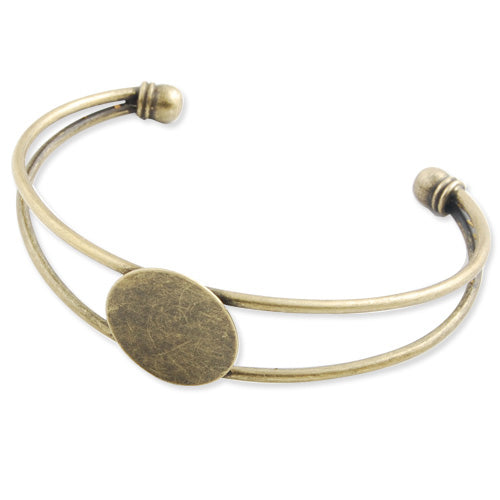Bracelet With 20 MM Round Setting,Cuff,Adjustable,Antique Brozen Plated Brass,Lead Free And Nickel Free,Sold 10PCS Per Lot
