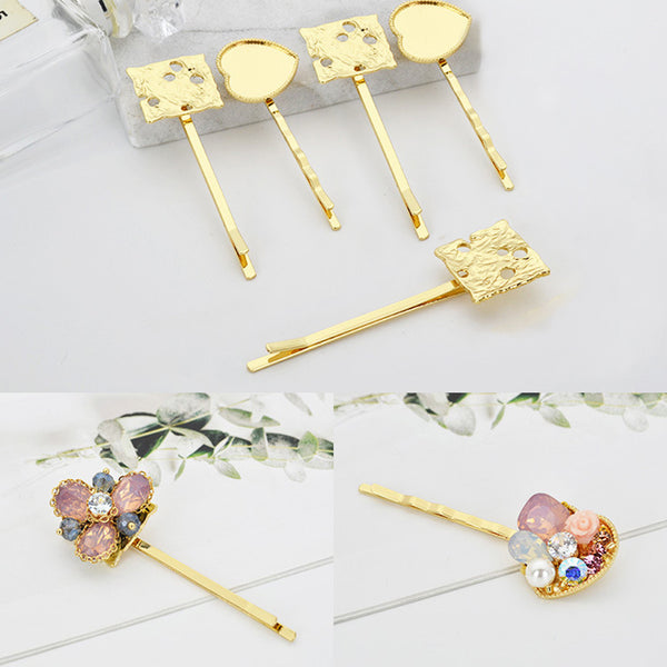 Alloy Bobby Pins Hair Clips with Blank Pad Golden Plated Hair Accessory Findings Blank Tray 5pcs 102779