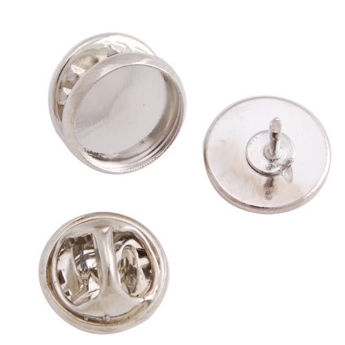 10mm Imitation Rhodium Plated Copper Cameo Brooch back,Tie Tac Clutch with 10mm Round Bezel Cup,sold 50pcs per pkg