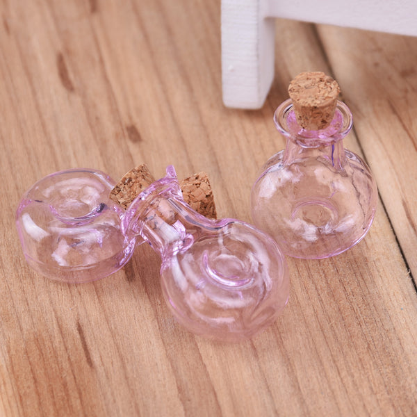 29 * 24mm Colored XO Bottle Wishing Bottle,Pink Small Glass Bottles With Cork,Glass Jar,Tiny Corked Bottle,Empty Glass Bottles,10pcs/lots