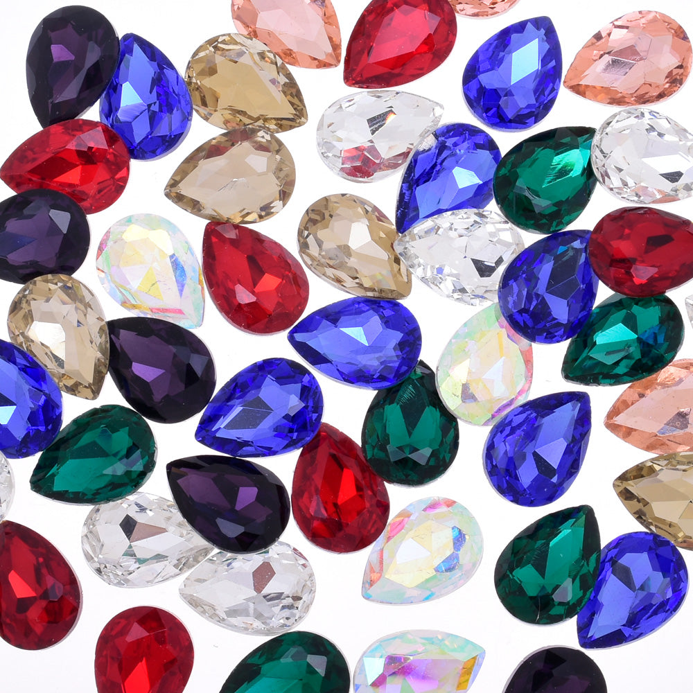 10x14mm Teardrop crystal Pointed Back Rhinestones Glass Crystal dress jewellery making shoes mixed 50pcs 10184158