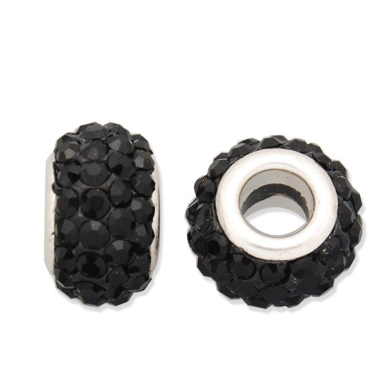 8*13MM Black Pave Crystal Beads,Brass Base,Hole Size about4.0MM,Sold  5PCS Per Package