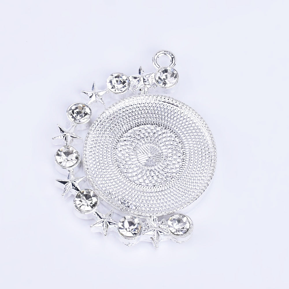 20mm Zinc alloy Round Pendant Tray Double Side Round Pendant Blanks with Rhinestones Blank Settings Wholesale plated silver 10pcs