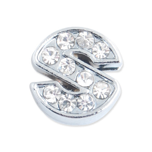 "12*11.5*5 MM Clear Crystal Rhinestone Letter ""S"" Slider Charm Beads,Hole Sizes:8*2 MM,Silver Plated,lead Free and Nickel Free,Sold 50 PCS Per Package"