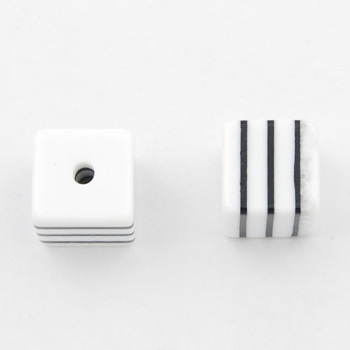 8mm*8mm*8mm Bright White and Black Striped  Cube Plastic Beads,hole size 1.8mm,sold 500pcs per pkg