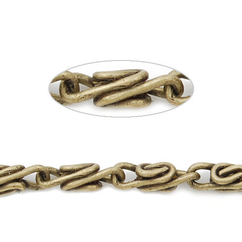 8.4MM*2.8MM Brass Antique Brozen Plated Twist Chain,Handmade,Sold 25 Meters Per Roll