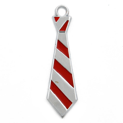 Tie Enamel Charms,Red,height 40mm,width 10mm,thick 2mm,Sold 20 PCS Per Package