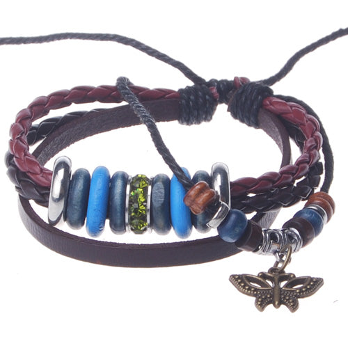 2013-2014 Summer hot sale promotional gifts butterfly cahrm beaded hand-woven  leather bracelet,Deep Coffee,sold 10pcs per pkg