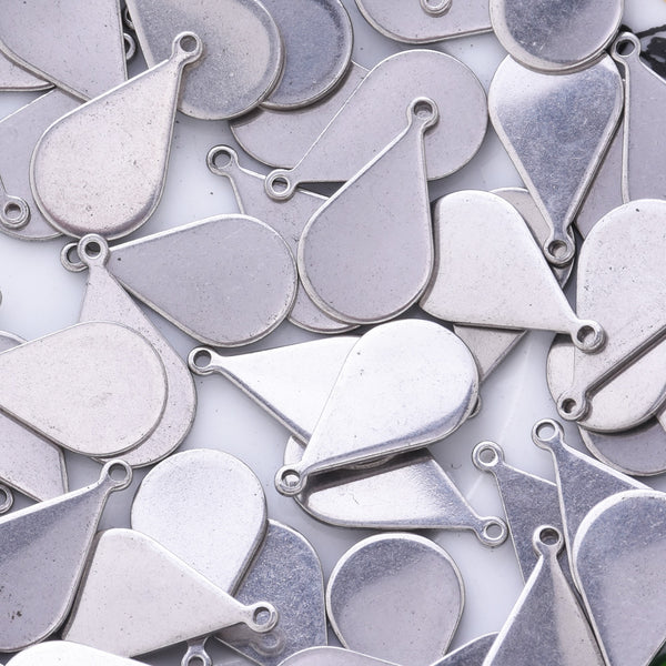 20 Stainless Steel Teardrop Charm Pendant Blanks Stamping Tag Blank Charms about 18.5mm