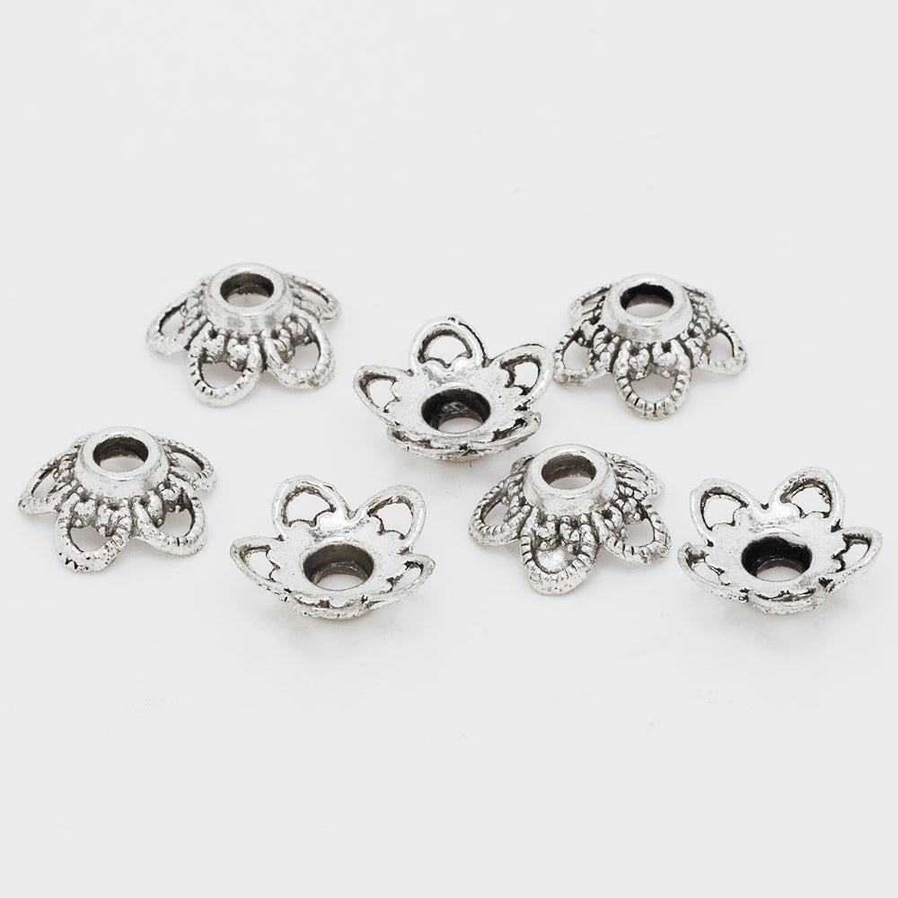 11mm Hollow Bead Caps,Antique Silver Jewelry Findings,Charm Bead Caps,Thickness 4.5mm,sold 50pcs/lot