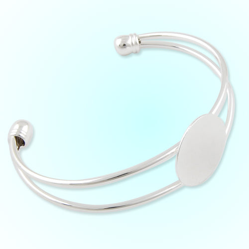 Bracelet With 20MM Pad,Cuff,Adjustable,Silver  Plated,Lead Free And Nickel Free,Sold 10PCS Per Lot