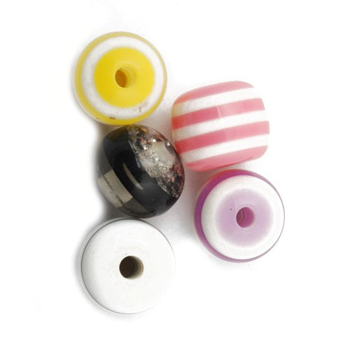12mm Bright and Colorful Striped Rainbow drum Plastic Beads,hole size 2.6mm,sold 200pcs per pkg