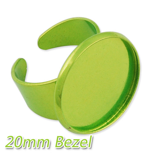 2013-2014 new style 20MM Apple Green Adjustable Ring Blanks Base With bezel,Electrophoresis,fit 20mm glass cabochon,Sold 20PCS Per Package