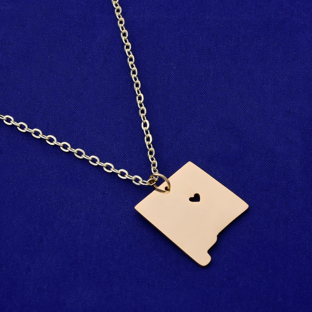 1 pcs about 18x20mm Gold Stainless Steel pendant map necklace Stamping blank Jewelry supplies New mexico-NM 18 Gauges