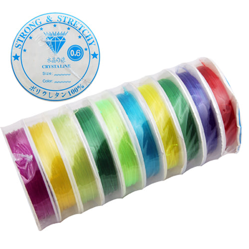 10M/Roll,0.6MM Crystal Thread,Mixed Color,Elastic Rubber Beading Cord Thread String,Sold 10 Rolls Per Lot