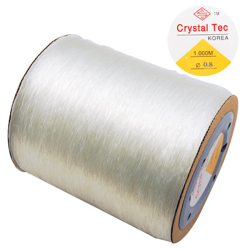 0.8MM Diameter,Korea Crystal Thread,Clear,Elastic Rubber Beading Cord Thread String,Sold 1000M/Roll,