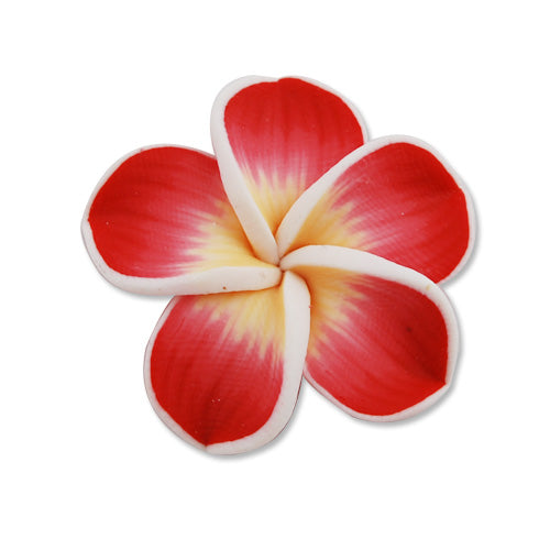 30MM HandMade And Flat Back Polymer Clay Flower Beads,Red,Side Drilled Hole Size 2.5MM,Lead Free,Sold 50 PCS Per Package