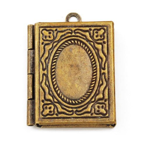24*19 mm Antique Brass Book Lockets Pendant Victorian Style,Sold 20 pcs per pkg