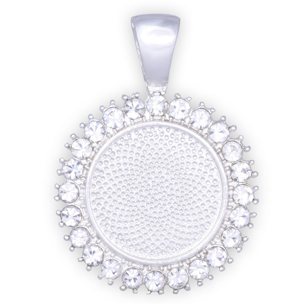 10 Crystal Style Silver Pendant Trays ,16mm Round Cabochon Settings Rhinestone Pendant  Clear Rhinestone Photo holder