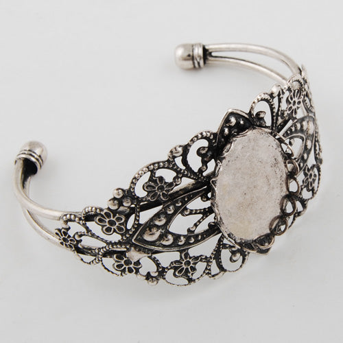 Bracelet With 18*25MM Oval Setting,Cuff,Adjustable,Antique Silver-Plated Brass,Lead Free And Nickel Free,Sold 10PCS Per Lot
