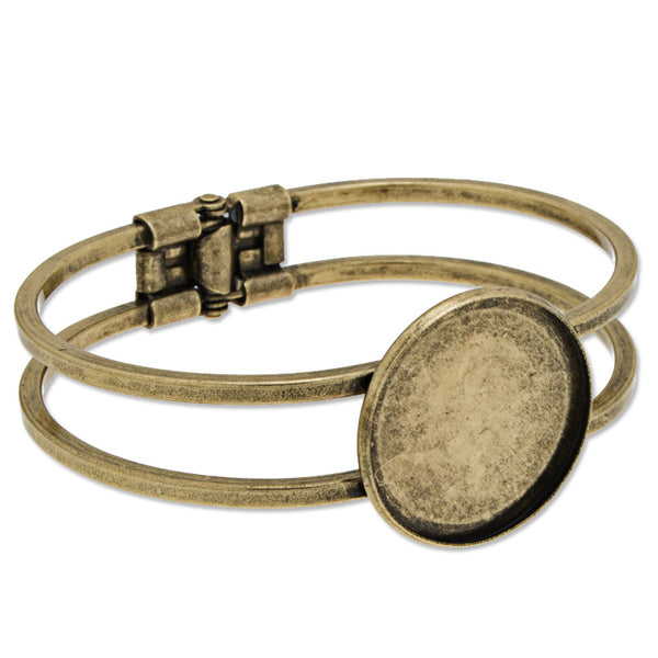 Antique Bronze Plated Adjustable Bracelet Setting With 25MM Round Bezel,Cuff,Lead Free And Nickel Free,Sold 10PCS Per Lot