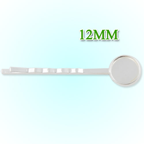 55*12MM Silver Plated Brass Bobby Pin With bezel,fit 12mm glass cabochon,sold 50pcs per package