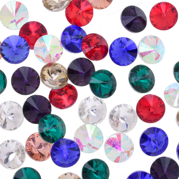 8mm Pointed Back rhinestone  crystal stone Glass Crystal High Quality Satellite stone decoration mixed color 50pcs 10181658
