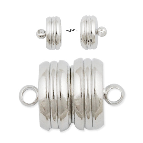 10*15MM Silver Open Round Magnetic Buckle Ends Clasp Connector with Loop,nickel and lead free